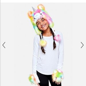 Justice Llamacorn Rainbow Hat w/ Fingerless Gloves